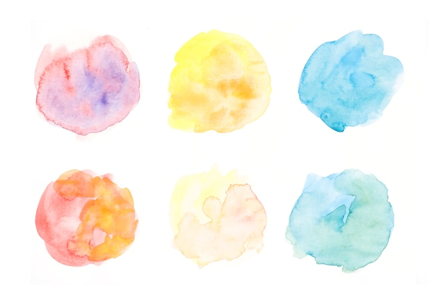Hand drawn colorful circular splatter on white backdrop