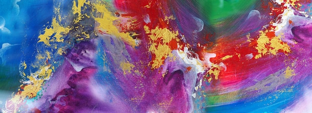 Hand drawn colorful painting abstract art panorama background colors texture on canvas