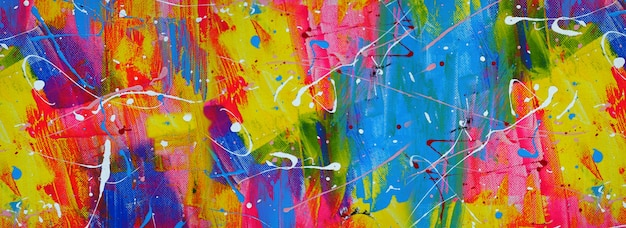 Hand drawn colorful painting abstract art panorama background colors texture design illustration