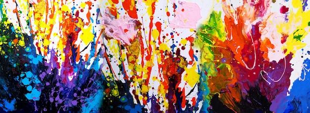 캔버스에 손으로 그린 다채로운 그림 추상 미술 파노라마 배경 색상 질감