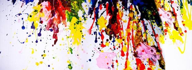 手描きのカラフルな絵画抽象芸術パノラマ背景色テクスチャキャンバスに