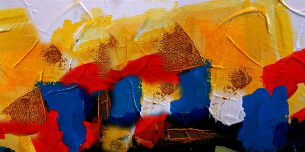 Hand drawn colorful painting abstract art panorama background colors texture