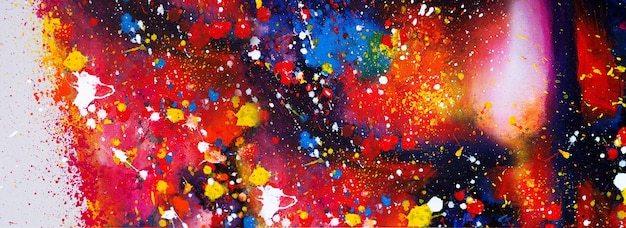 Hand drawn colorful watercolor painting abstract art panorama background colors texture