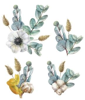 Рисованные композиции с ветками эвкалипта, хлопком и цветком белого анемона