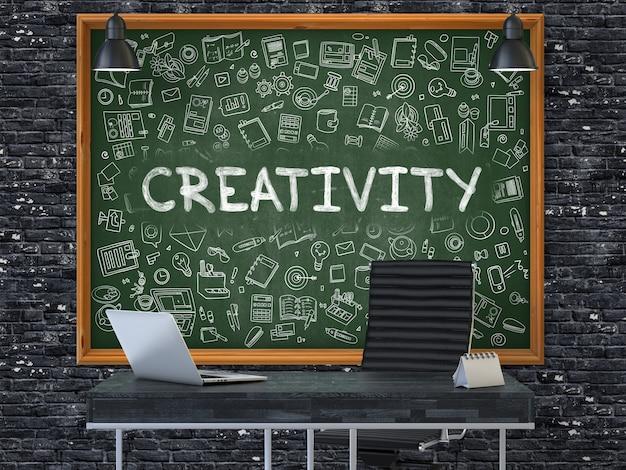 Ручной обращается творчество на зеленой доске. современный офисный интерьер. темный фон кирпичной стены. бизнес-концепция с элементами стиля каракули. 3d.