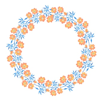 Hand drawn floral set. watercolor wild flowers wreath isolated on white