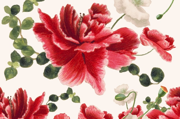 Hand drawn flower pattern background, remixed from public domain artworks