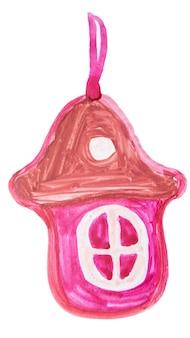 Рисованный пряничный домик елочная игрушка, украшение, милый акварельный рисунок