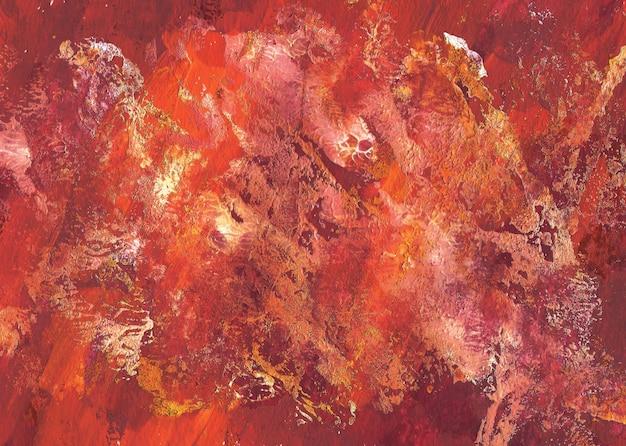 Нарисованная рукой абстрактная текстура красного, оранжевого и белого гуаши. красочный фон мазки кистью.