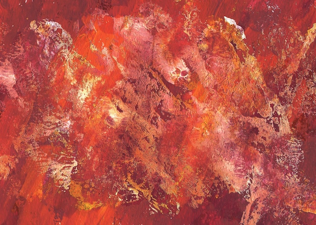 Hand drawn gouache abstract red, orange and white texture. colorful brush strokes background.
