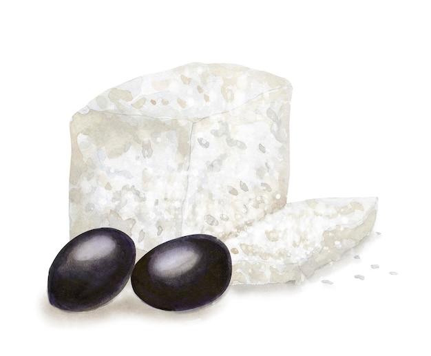 手描きギリシャのフェタチーズとオリーブ。ベジタリアンの健康食品。水彩イラスト。カード、メニュー、スクラップブッキングのテンプレート