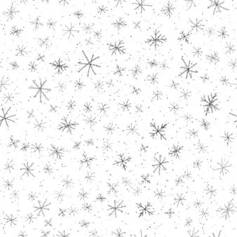 손으로 그린된 회색 눈송이 크리스마스 완벽 한 패턴입니다. 흰색 바탕에 미묘한 비행 눈 조각입니다. 알맞은 분필로 손으로 그린 눈 오버레이. 공정한 휴가 시즌 장식.
