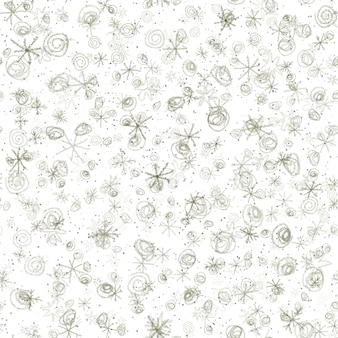 손으로 그린 회색 눈송이 크리스마스 완벽 한 패턴. 흰색 바탕에 미묘한 비행 눈 조각입니다. 괜찮은 분필 handdrawn 눈 오버레이. 활기찬 휴가 시즌 장식.