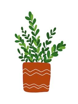 白い背景で隔離の手描きの観葉植物のクリップアート。緑の葉は、ポットのイラストで花を咲かせます。観葉植物のクリップアート。