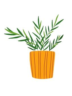 マスタードカラーポットクリップアートで手描きの観葉植物。白い背景で隔離のチャメドレアのイラスト。緑の葉が鉢に花を咲かせます。観葉植物のクリップアート。