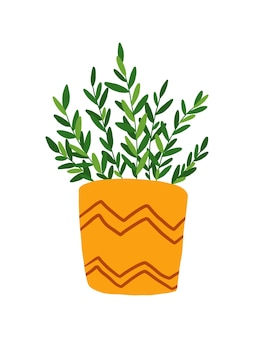 マスタードカラーポットクリップアートで手描きの観葉植物。白い背景で隔離の鉢植えの花のイラスト。緑の葉が鉢に花を咲かせます。観葉植物のクリップアート。