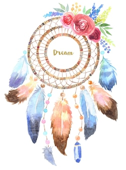Hand drawn illustration of dreamcatcher