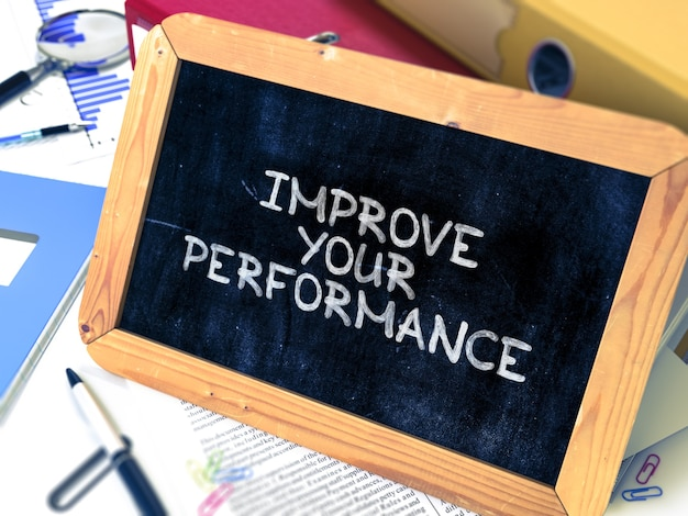 Hand drawn improve your performance concept on chalkboard. blurred background. toned image. 3d render.