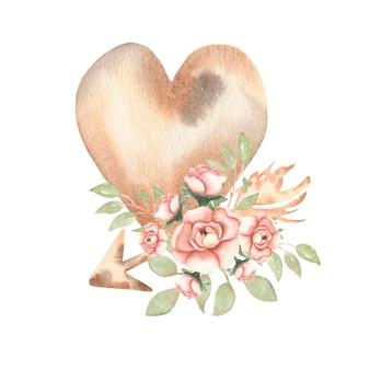 Вручите вычерченное изолированное сердце нейтрального цвета с пионом акварели мягкими розовыми и бежевыми цветами и розами, стрелкой и листьями.