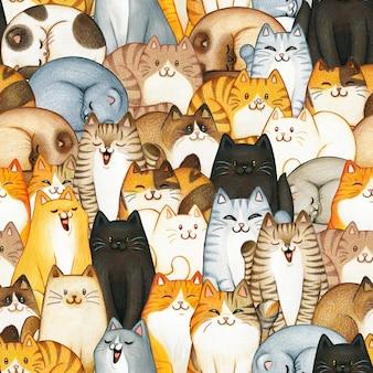 손으로 그린 된 고양이 원활한 패턴