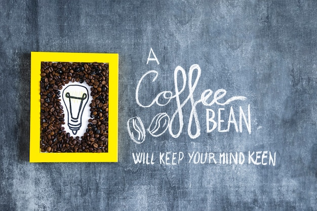 Hand drawn light bulb and coffee beans frame with text on chalkboard