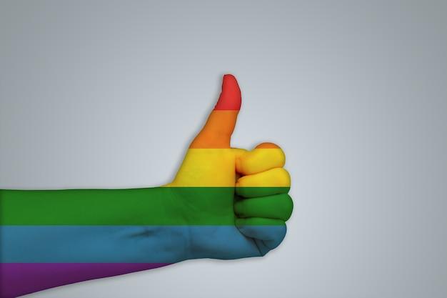 灰色の背景に虹色の旗のように手描き。トピックlgbt、レズビアン、ゲイ、トランスジェンダー、バイセクシュアル。非伝統的なマイノリティのシンボル。