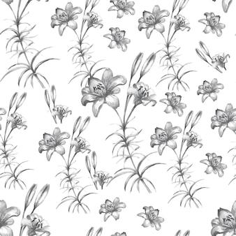手描きのユリの花のパターン