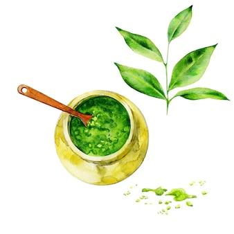 手描き抹茶と緑の葉
