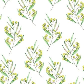 手描きのミモザブランチシームレスパターン水彩花シームレステクスチャ白い背景で隔離