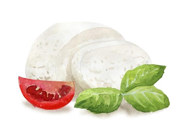 手描きのモッツァレラチーズ、バジル、トマト。地中海のベジタリアンの健康食品。水彩イラスト。カード、メニュー、スクラップブッキングのテンプレート