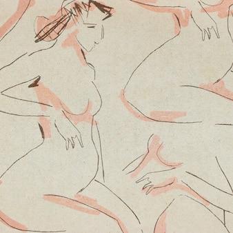Hand drawn nude women pattern background vintage illustration