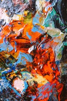 手描きの油絵。抽象芸術の背景。キャンバスに油絵。色の質感。アートワークの断片。現代現代美術。