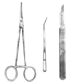 Hand drawn operation equipment for surgery isolated