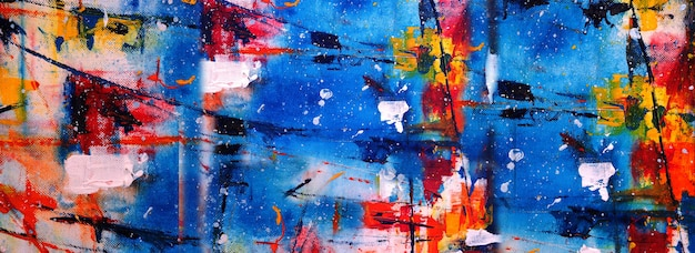 Hand drawn painting abstract art panorama background colors texture design illustration