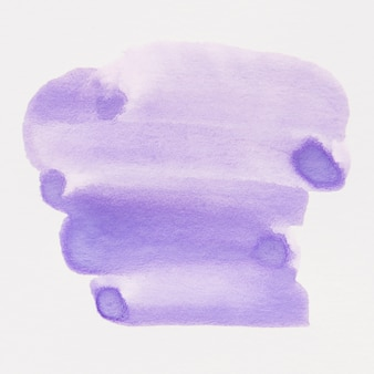Hand drawn purple watercolor brush stain on white paper