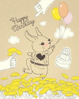꽃 초원에 다채로운 풍선과 함께 손으로 그린 토끼. 베이비 샤워 축하 인사말 카드, 생일 및 초대 카드, 아기 티셔츠, 패션 프린트, 아동복 디자인에 사용할 수 있습니다.