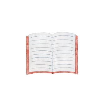 Ручной обращается красный открытая тетрадь на белом фоне