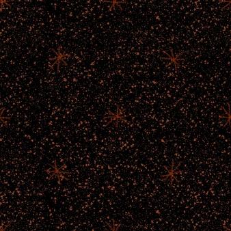 手描きの赤い雪片のクリスマスのシームレスなパターン。黒の背景に微妙な空飛ぶ雪片。劇的なチョークの手描きの雪のオーバーレイ。華やかなホリデーシーズンの装飾。