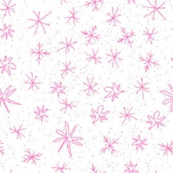 Ручной обращается красные снежинки рождество бесшовные модели. тонкие хлопья летающего снега на белой предпосылке. великолепный снег, нарисованный от руки мелом. очаровательная иллюстрация.