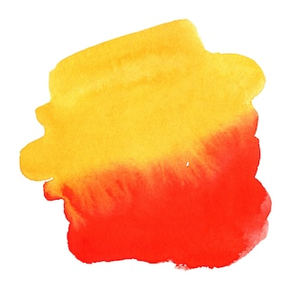Hand drawn red and yellow watercolor spot abstract watercolor background