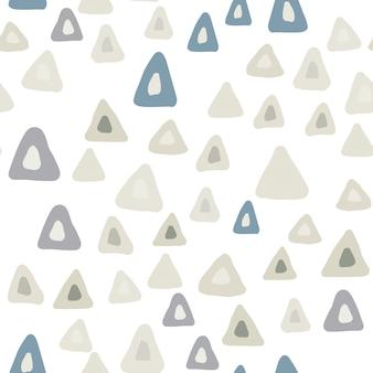 흰색 바탕에 손으로 그린 스칸디나비아 스타일 삼각형 완벽 한 패턴입니다. 손으로 그린 혼란스러운 모양 배경. 파스텔 색상입니다. 벡터 일러스트 레이 션