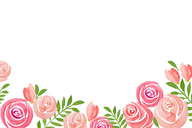 Hand-drawn set of pink rose flowers frame, on white background.