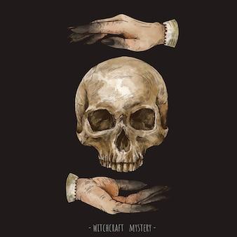 손으로 그린 해골과 마법의 손 요술 삽화. 마녀 손 미스터리 그림 검은 배경에 고립