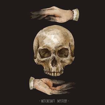Hand drawn skull and magic hands witchcraft illustration. witch hands mystery illustration isolated on black background