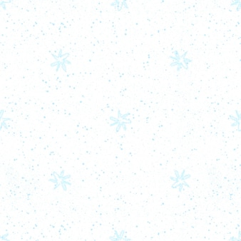 Hand drawn snowflakes christmas seamless pattern. subtle flying snow flakes on chalk snowflakes background. alluring chalk handdrawn snow overlay. symmetrical holiday season decoration.