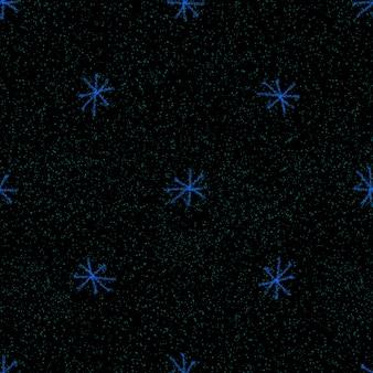 手描きの雪片のクリスマスのシームレスなパターン。チョークの雪片の背景に微妙な空飛ぶ雪片。実際のチョーク手描き雪オーバーレイ。神のホリデーシーズンの装飾。