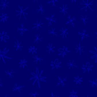 Ручной обращается снежинки рождество бесшовные модели. тонкие летающие хлопья снега на фоне снежинок мела. замечательный снежный покров, нарисованный от руки мелом. выдающееся украшение курортного сезона.