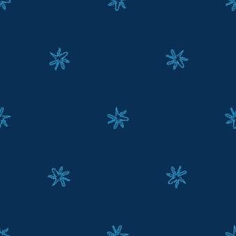 Ручной обращается снежинки рождество бесшовные модели. тонкие летящие хлопья снега на фоне снежинок мела. замечательный снежный покров, нарисованный от руки мелом. красивое украшение праздничного сезона.