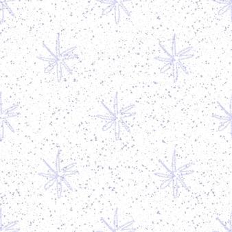 Ручной обращается снежинки рождество бесшовные модели. тонкие летающие хлопья снега на фоне снежинок мела. очаровательный мел, нарисованный вручную снегом. симметричное оформление курортного сезона.