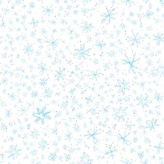 Ручной обращается снежинки рождество бесшовные модели. тонкие летающие хлопья снега на фоне снежинок мела. живой мел, нарисованный вручную снегом. ослепительное украшение курортного сезона.